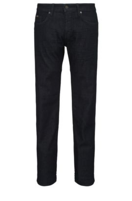 Jeans Slim Fit en coton mélangé extensible: «C-DELAWARE1», Bleu foncé