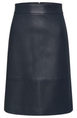 Jupe en cuir légèrement évasée: «Secille», Bleu foncé