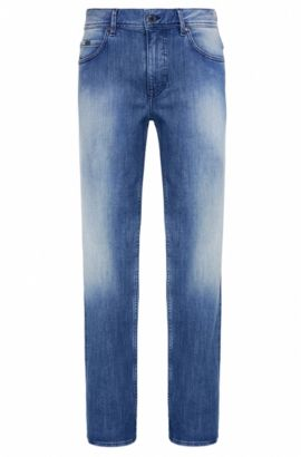 Regular-fit jeans in stretch cotton with vintage finish: 'Deam30', Turquoise