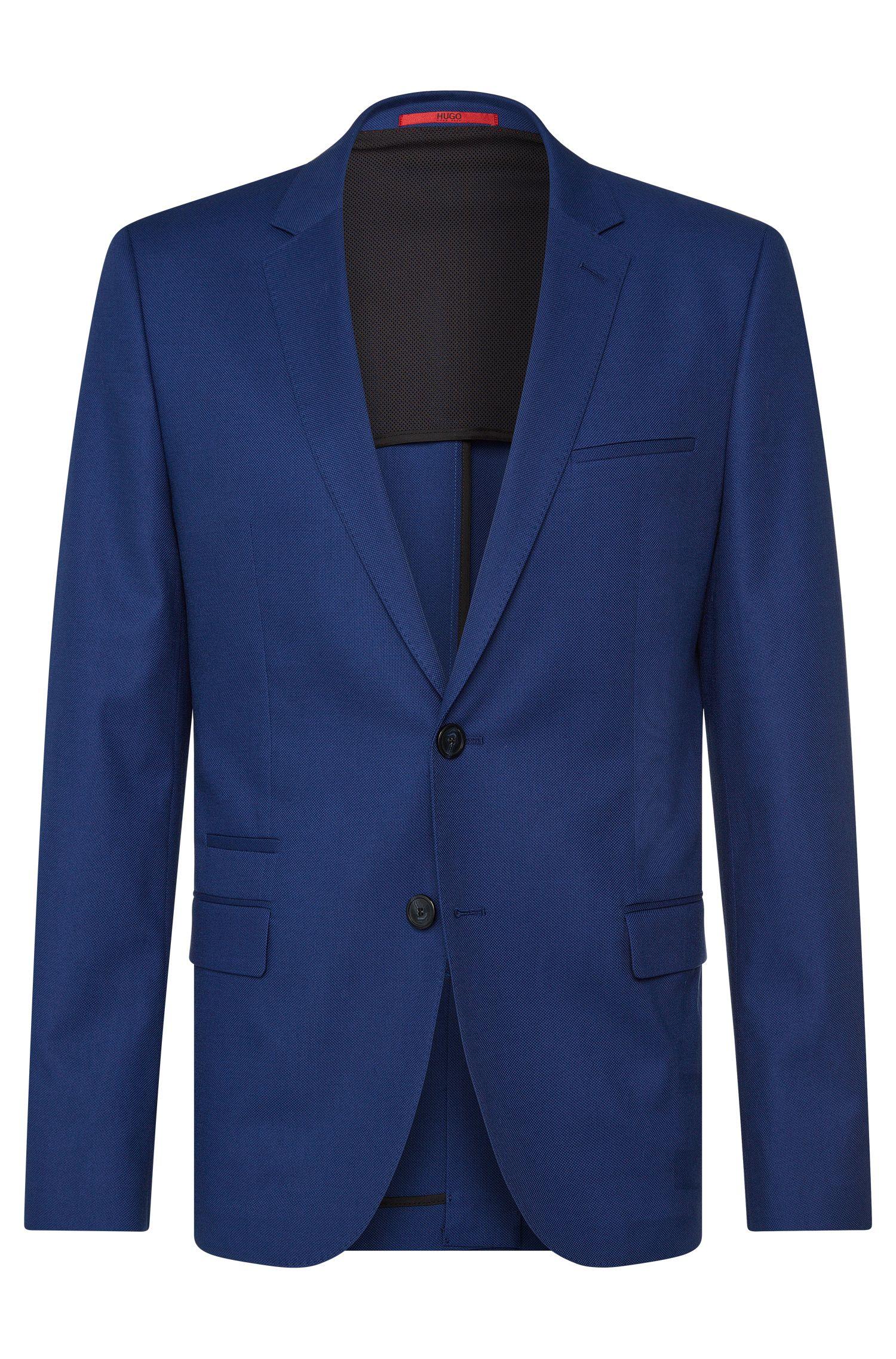 Slim-fit jacket in textured stretch cotton: 'Artyn'