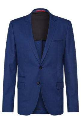 Veste de costume Slim Fit en coton stretch structuré : « Artyn », Bleu