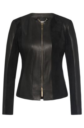 Leather jacket in a texture mix: 'Sapato', Black
