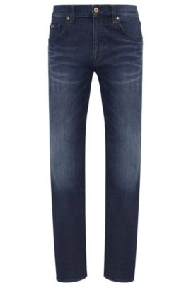 Regular-fit jeans in a stretchy cotton blend: 'C-MAINE1', Dark Blue