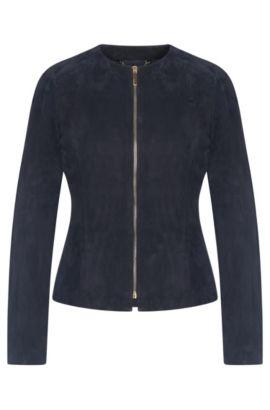 Blouson en cuir orné de zips décoratifs: «Sabio», Bleu foncé