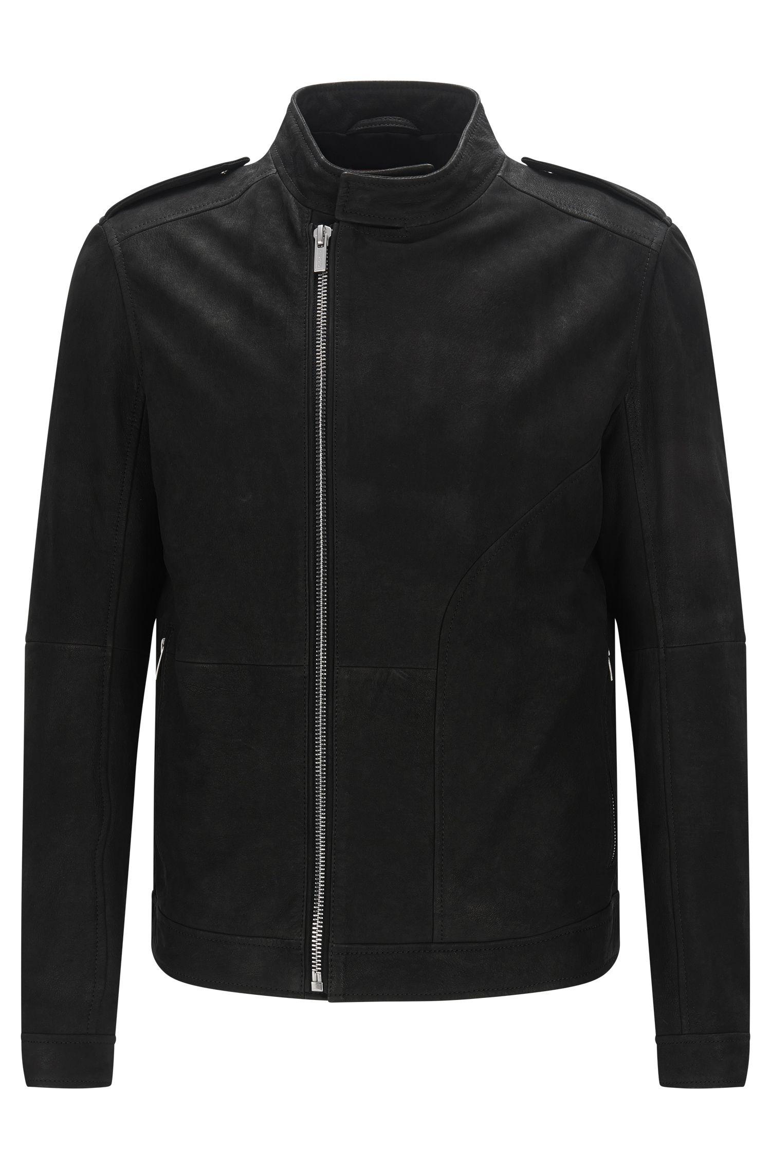 Leather jacket with asymmetric zip: 'Landerson'