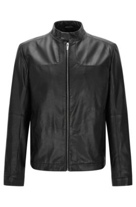 Regular-fit biker-style leather jacket: 'Lemy', Black