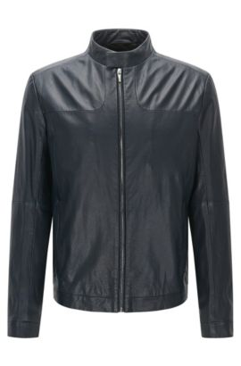 Giubbotto in pelle stile biker regular fit: 'Lemy', Blu scuro