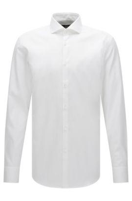 Slim-fit Travel Line shirt in non-iron cotton: 'Jason', White