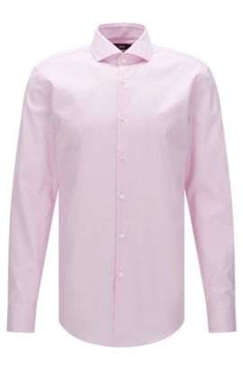 Slim-fit Travel Line shirt in non-iron cotton: 'Jason', light pink