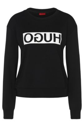 Sweatshirt in cotton with a reversed HUGO logo: 'Nicci', Black