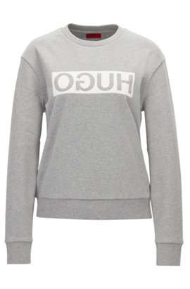 ... BOSS. Quick view · Relaxed-fit cotton sweater with reverse logo, Light  Grey