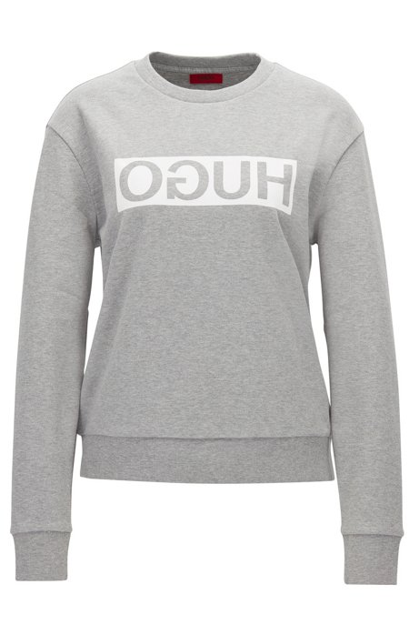 Relaxed-fit cotton sweater with reverse logo, Light Grey