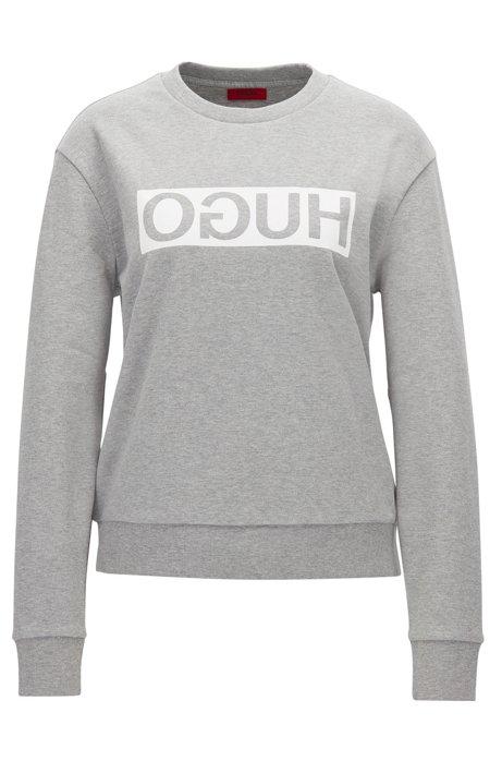 Relaxed-fit sweatshirt van katoen met gespiegeld logo, Lichtgrijs