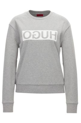 Relaxed-fit cotton sweater with reverse logo, Dark Grey