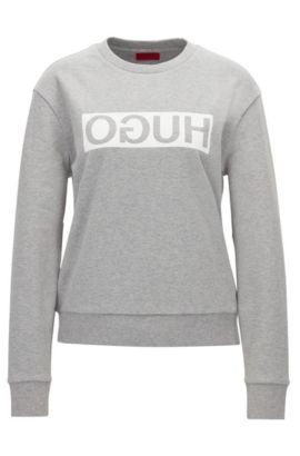 Relaxed-Fit Pullover aus Baumwolle mit spiegelverkehrtem Logo, Dunkelgrau