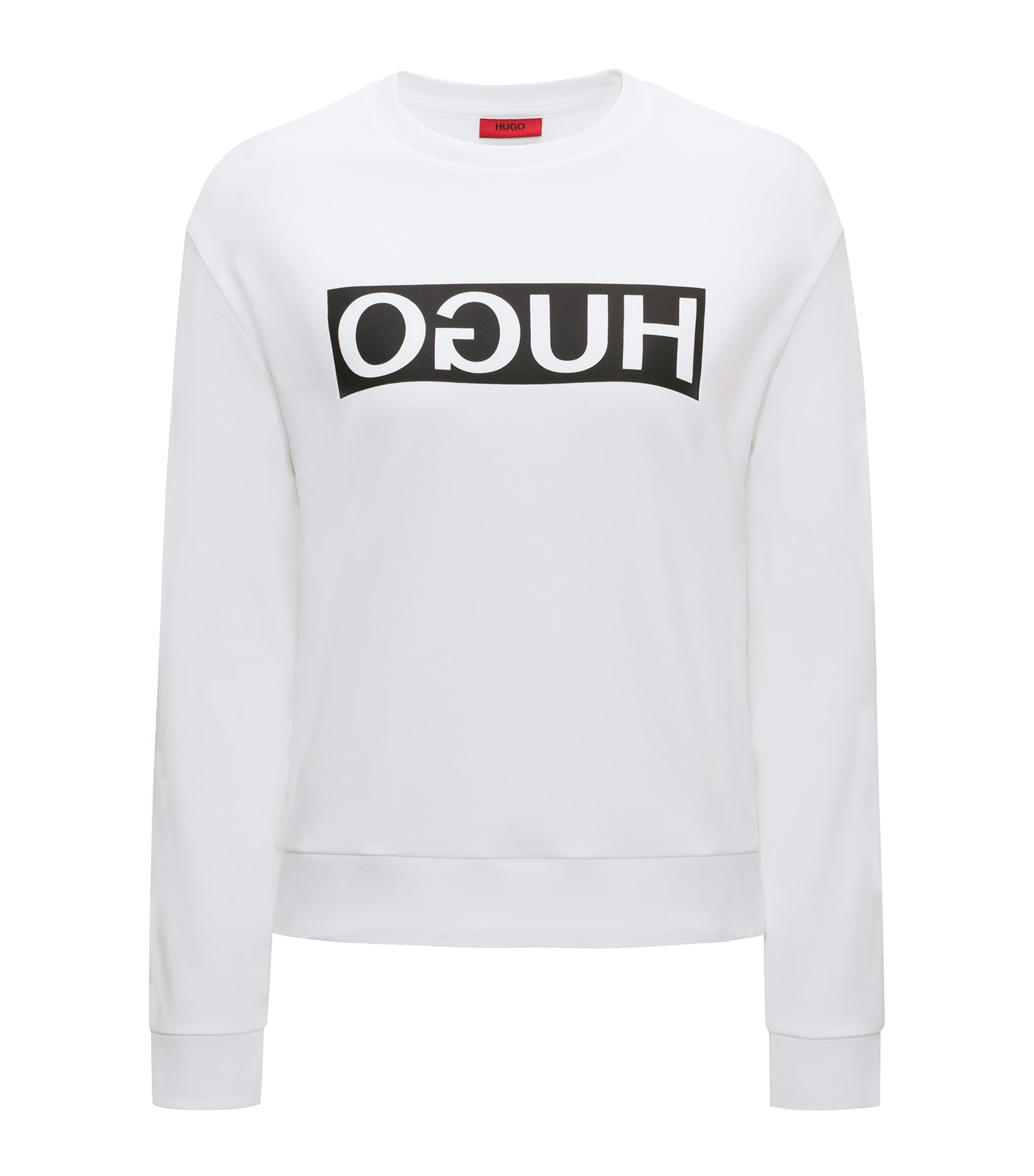 Relaxed-fit cotton sweater with reverse logo, White