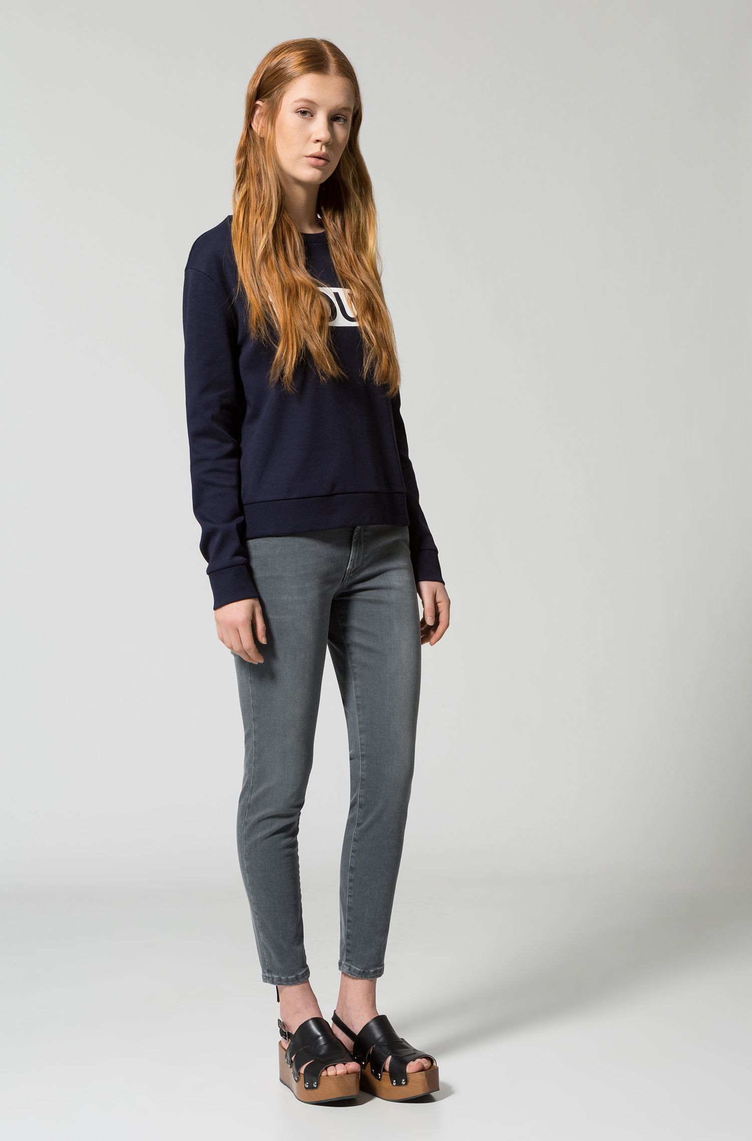 Relaxed-fit cotton sweater with reverse logo, Dark Blue