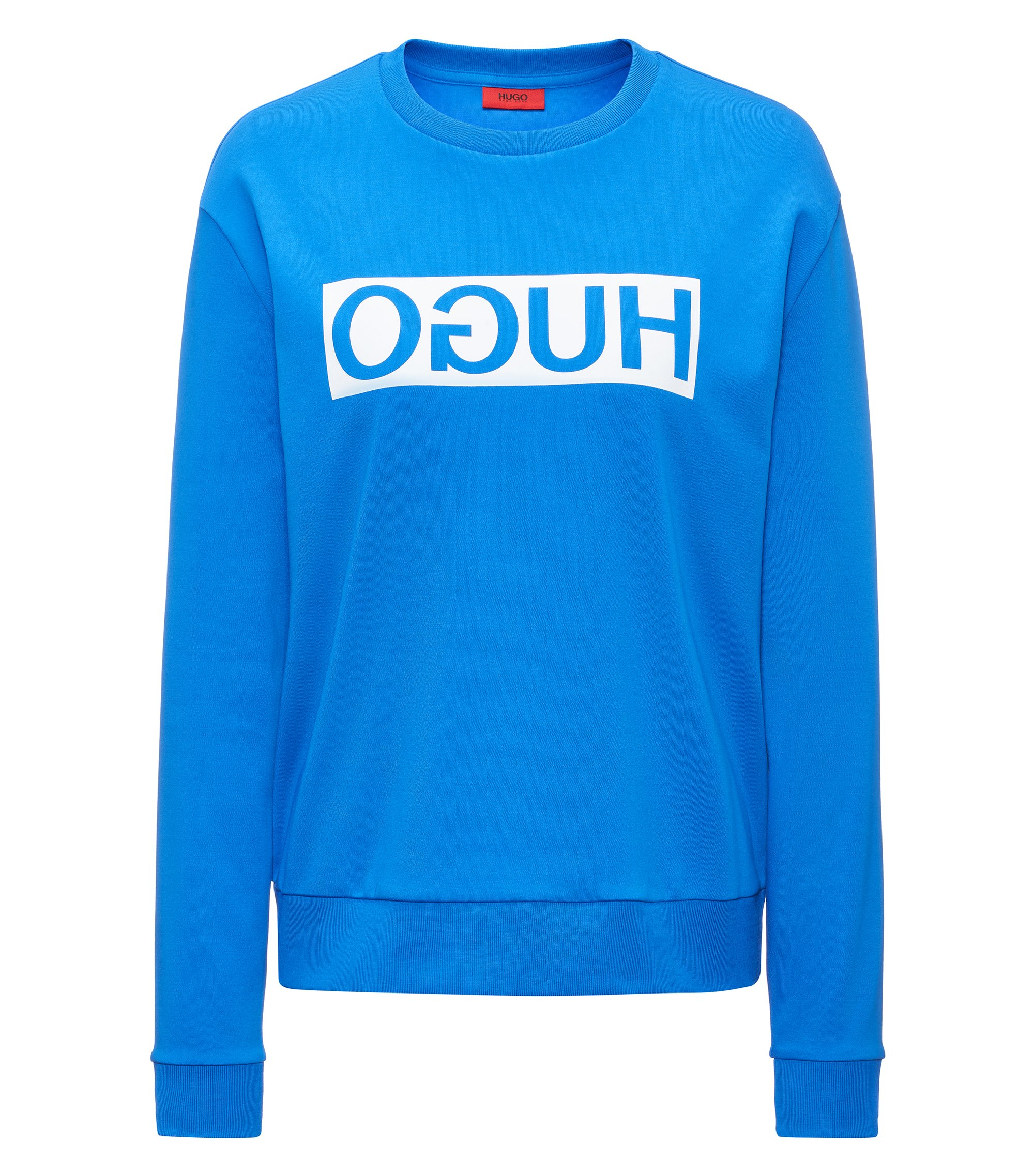 Relaxed-fit cotton sweater with reverse logo, Blue