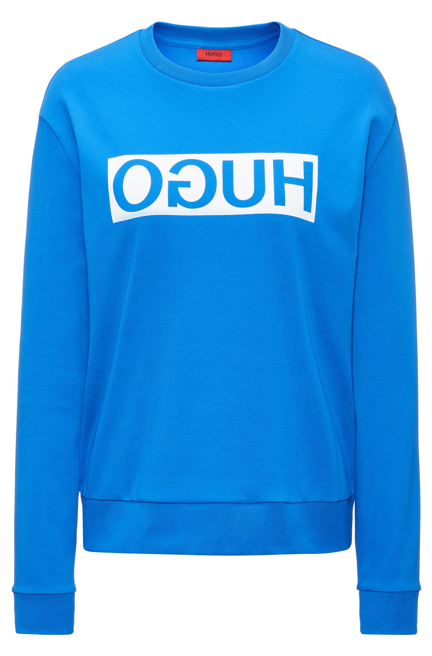 Relaxed-fit cotton sweater with reverse logo