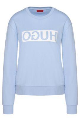 Sweatshirt aus Baumwolle mit HUGO Reversed Logo: 'Nicci', Hellblau