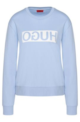 Sweatshirt in cotton with a reversed HUGO logo: 'Nicci', Light Blue