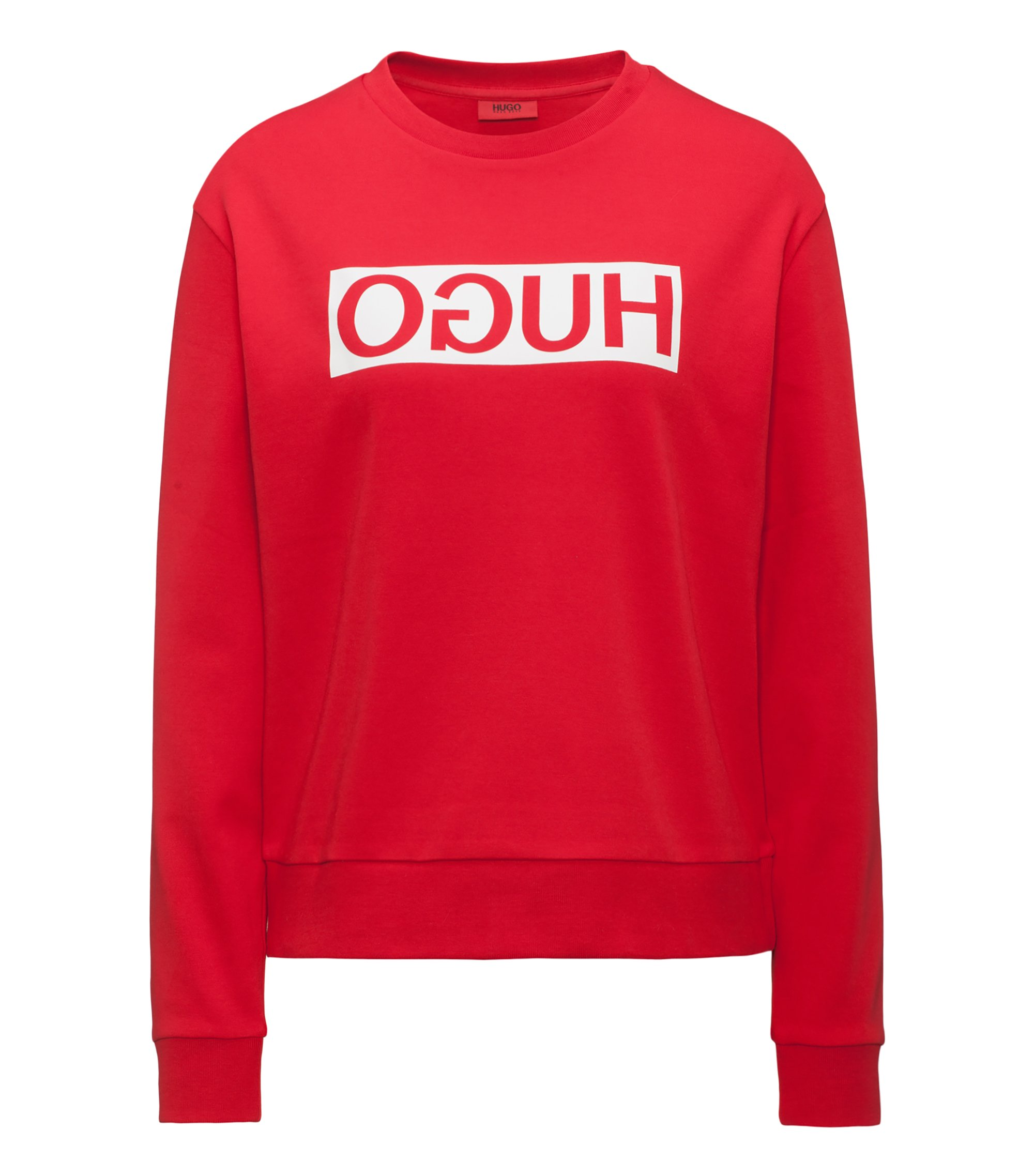 Relaxed-fit cotton sweater with reverse logo, Red