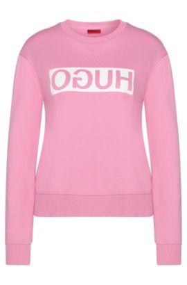 Sweatshirt in cotton with a reversed HUGO logo: 'Nicci', Pink