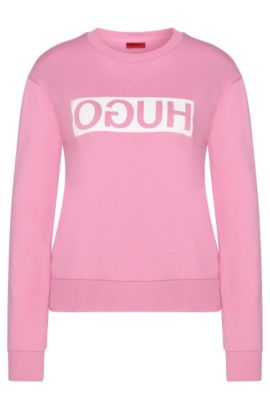 Sweatshirt in cotton with a reversed HUGO logo: 'Nicci', Pink