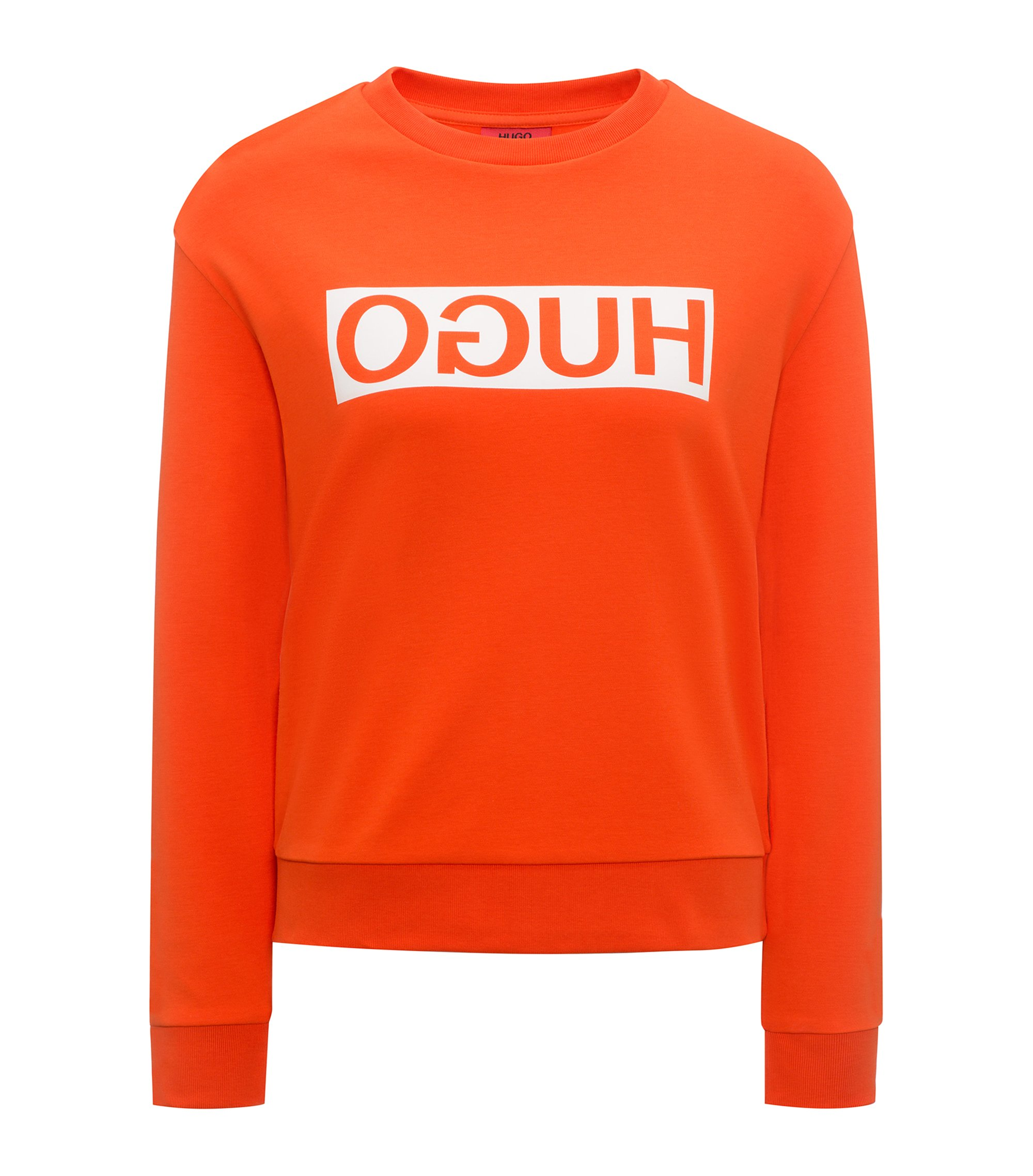Relaxed-fit cotton sweater with reverse logo, Orange