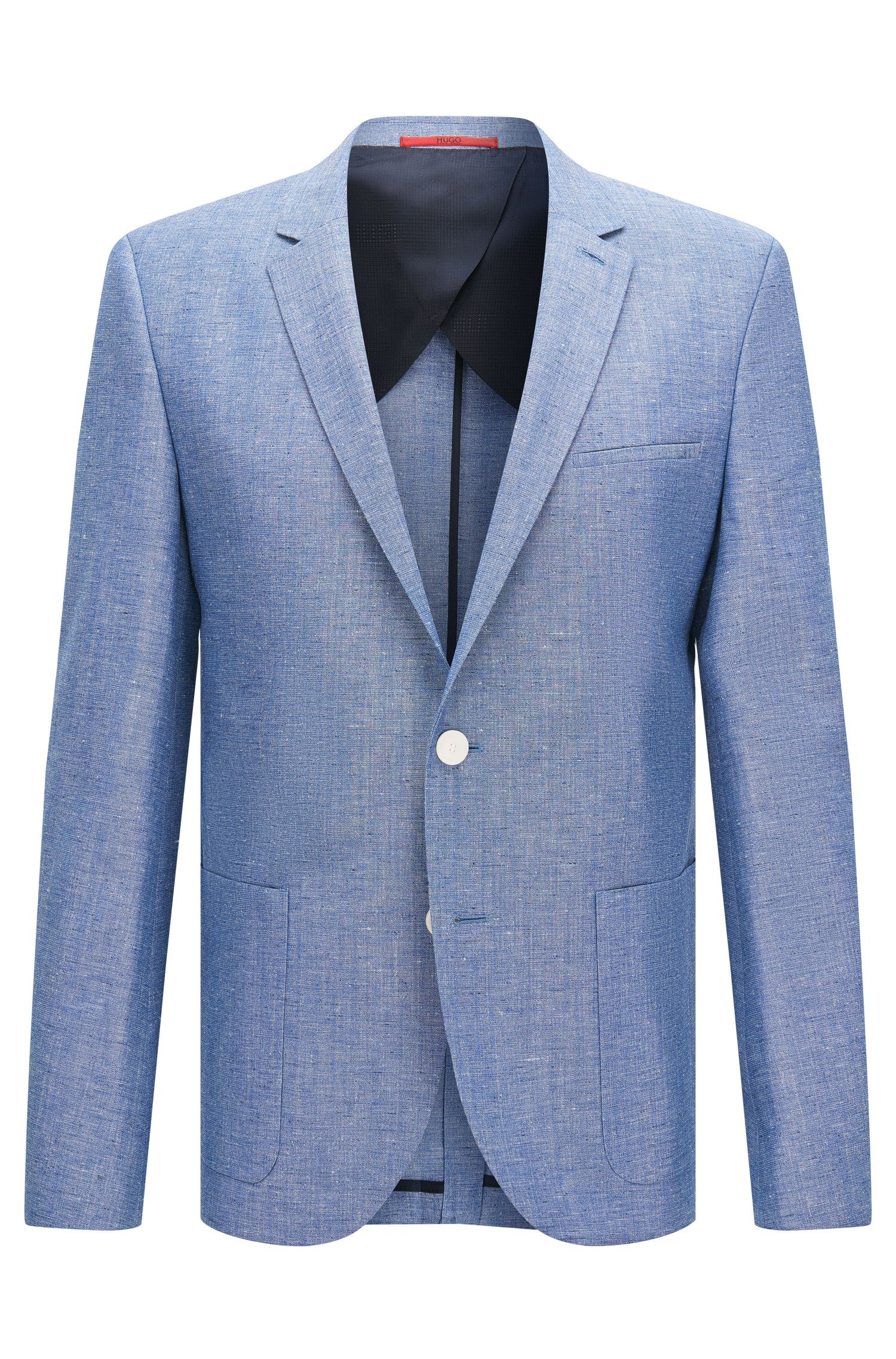 Slim-fit jacket in new-wool blend with linen and silk: 'Antano'
