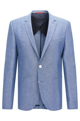 Slim-fit jacket in new-wool blend with linen and silk: 'Antano', Blue