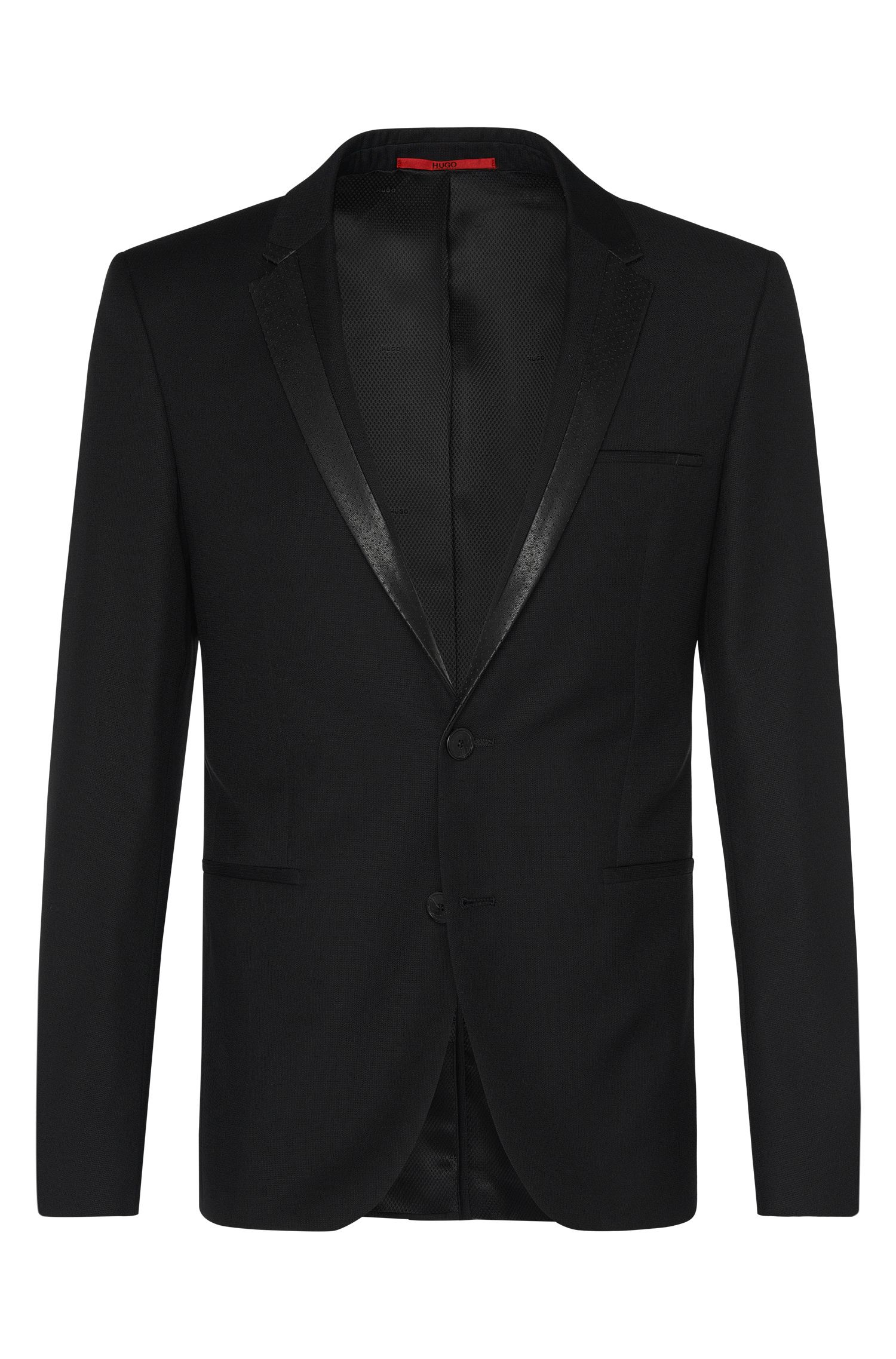 Extra slim-fit jacket in new wool with leather effect detailing: 'Andris'