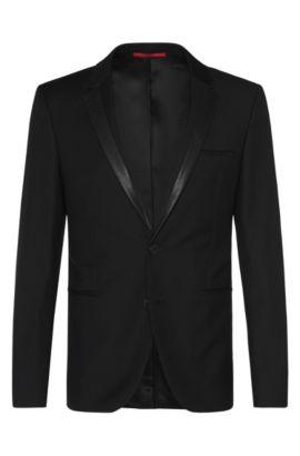 Americana extra slim fit en lana virgen con detalles en imitación piel: 'Andris', Negro