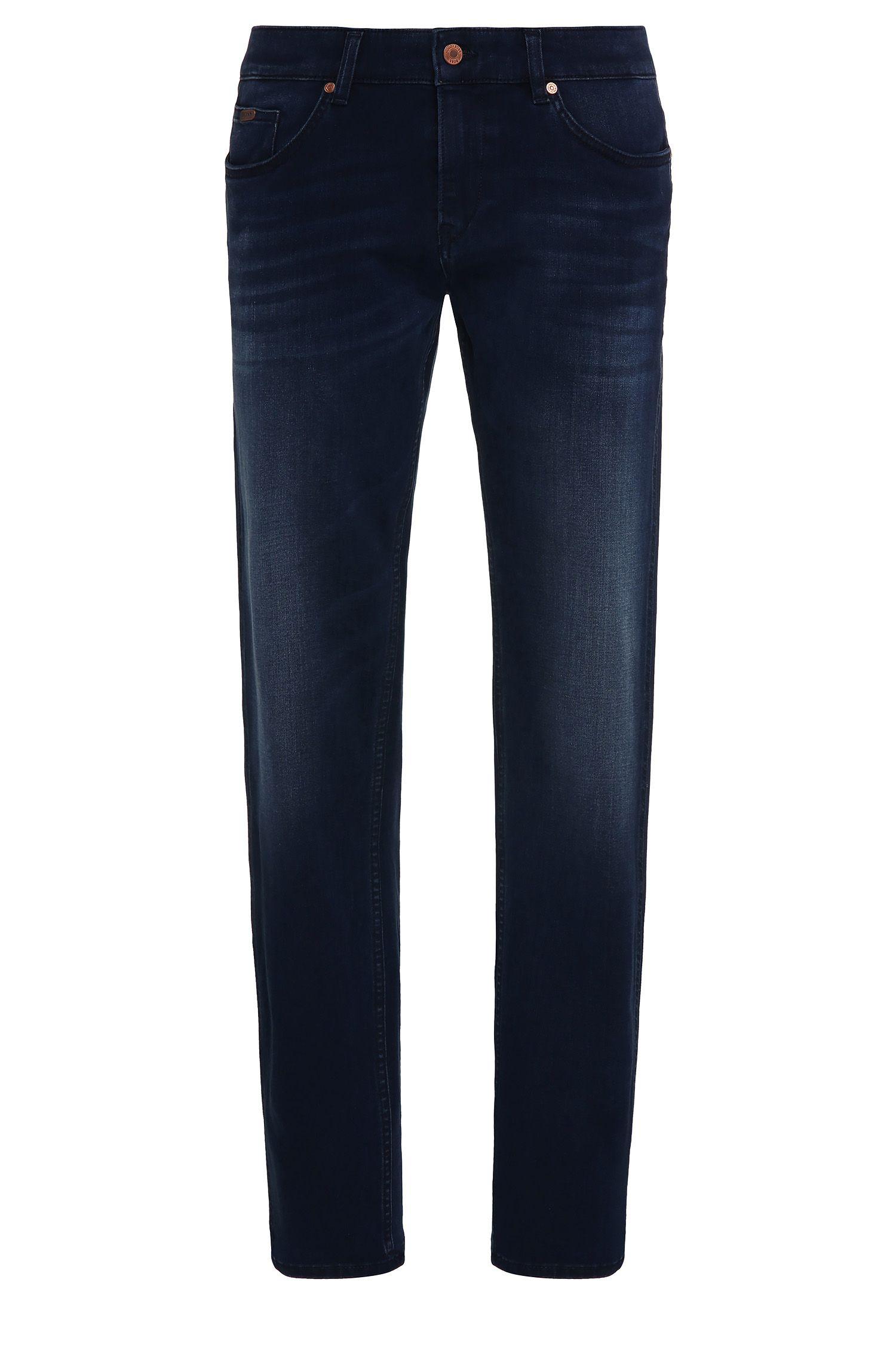 Jeans Slim Fit aux effets délavés en coton stretch mélangé à du modal: «C-Delaware1-200»