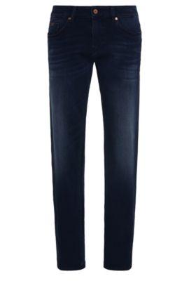 Jeans Slim Fit aux effets délavés en coton stretch mélangé à du modal: «C-Delaware1-200», Bleu