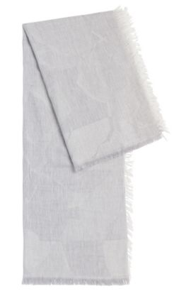 Patterned scarf in new-wool blend with modal: 'Limella', Silver