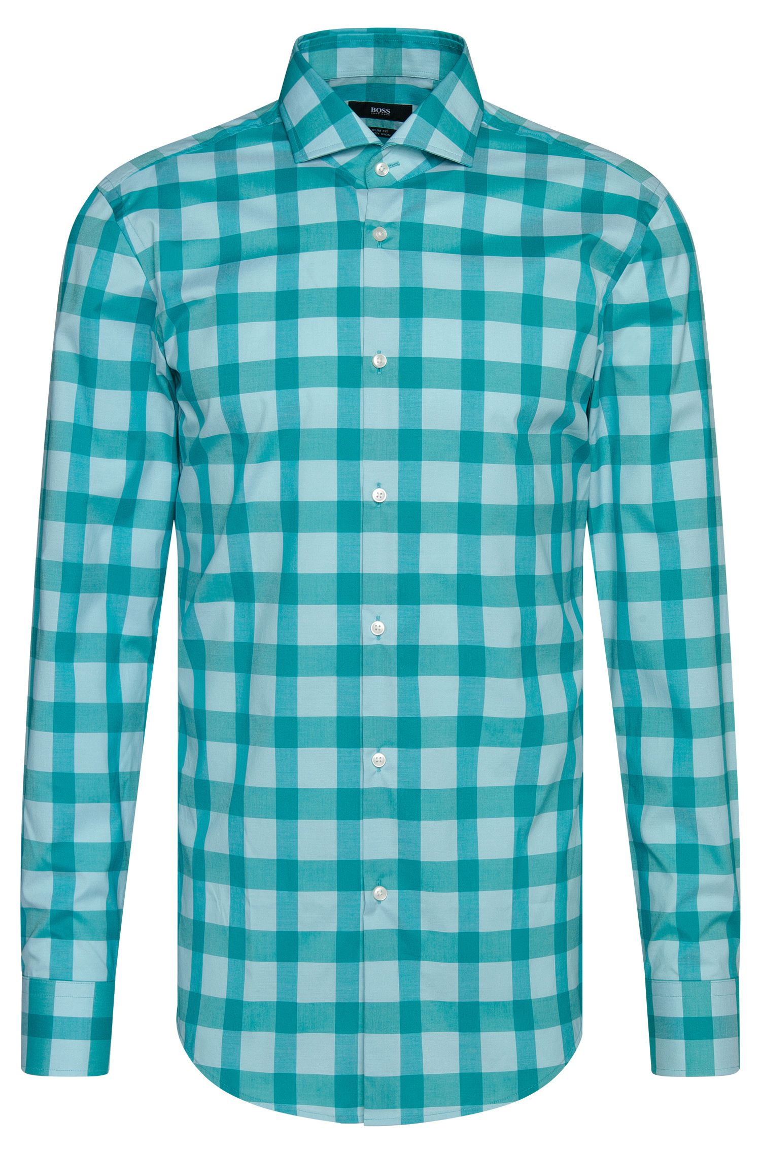 Camicia slim fit a scacchi in cotone facile da stirare: 'Jason'