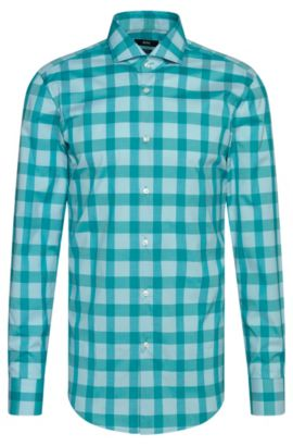 Camicia slim fit a scacchi in cotone facile da stirare: 'Jason', Calce