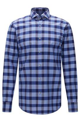 Checked slim-fit shirt in easy-iron cotton: 'Jason', Dark Blue