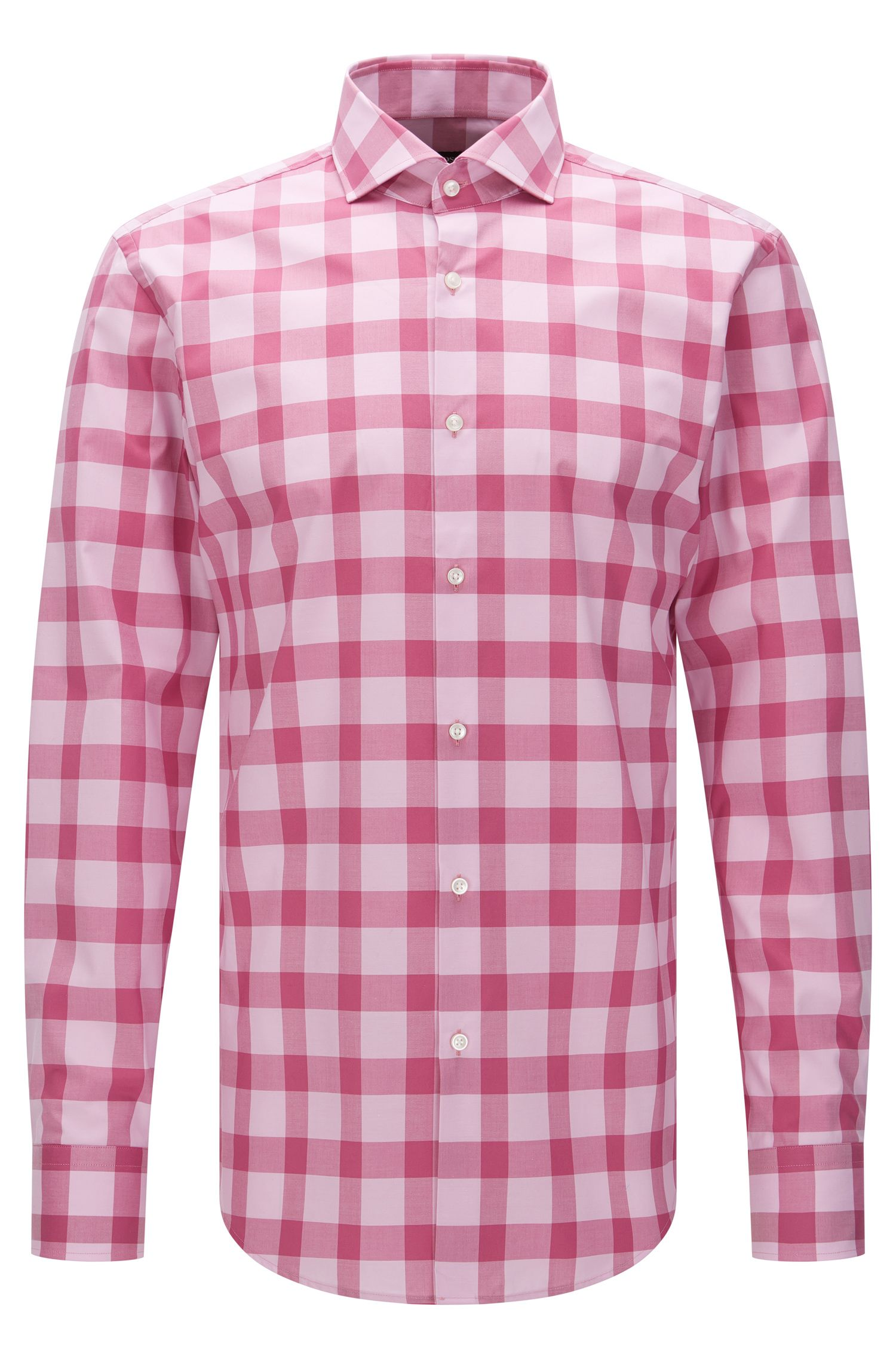 Checked slim-fit shirt in easy-iron cotton: 'Jason'