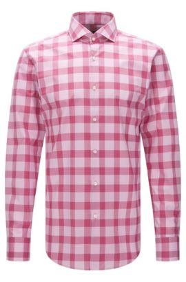 Chemise Slim Fit à carreaux en coton facile à repasser: «Jason», Rose