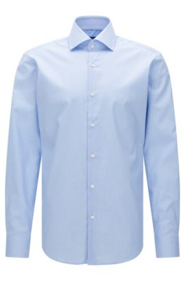 Finely checked regular-fit shirt in easy-iron cotton: 'Gert', Light Blue
