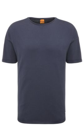 Relaxed-fit t-shirt in stretch cotton in a texture mix: 'Teesy', Dark Blue