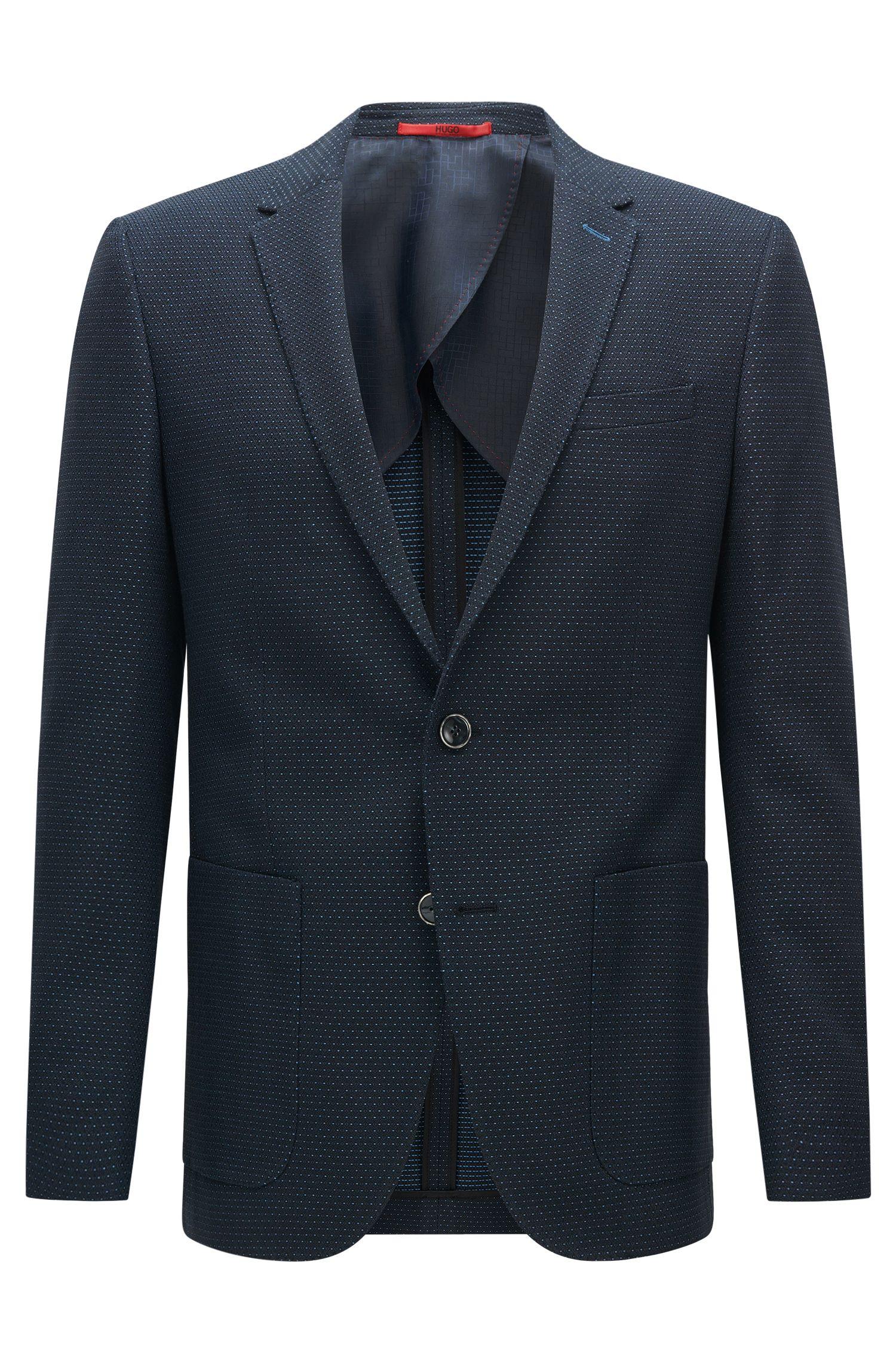 Veste de costume Slim Fit à pois fins en coton: «C-Hamilton1»