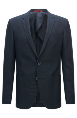 Slim-fit cotton jacket in a fine polka-dot pattern: 'C-Hamilton1', Blue