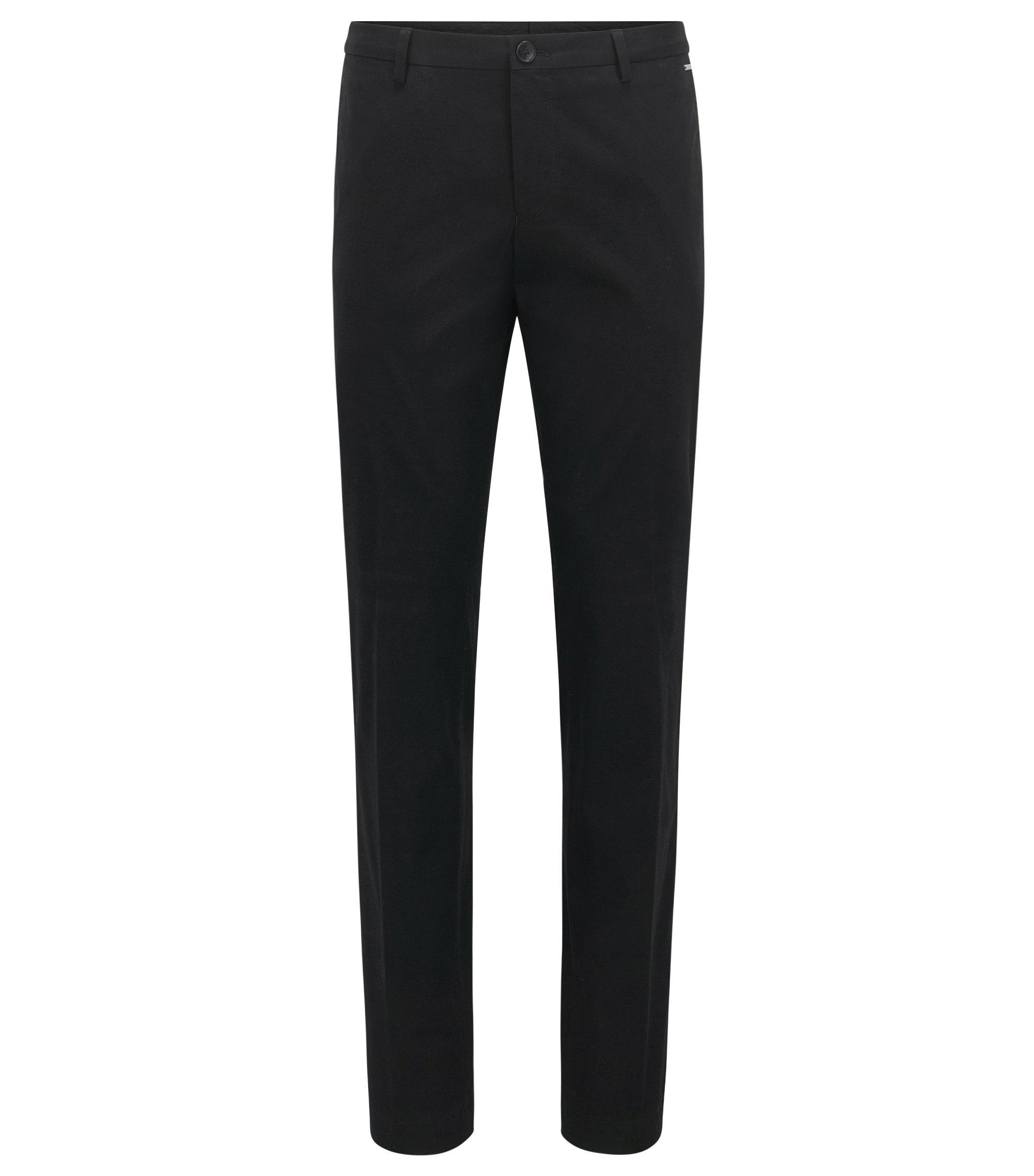 Pantaloni slim fit in cotone elasticizzato, Nero
