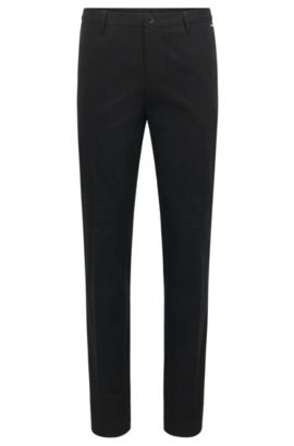 Slim-fit trousers in stretch cotton, Black