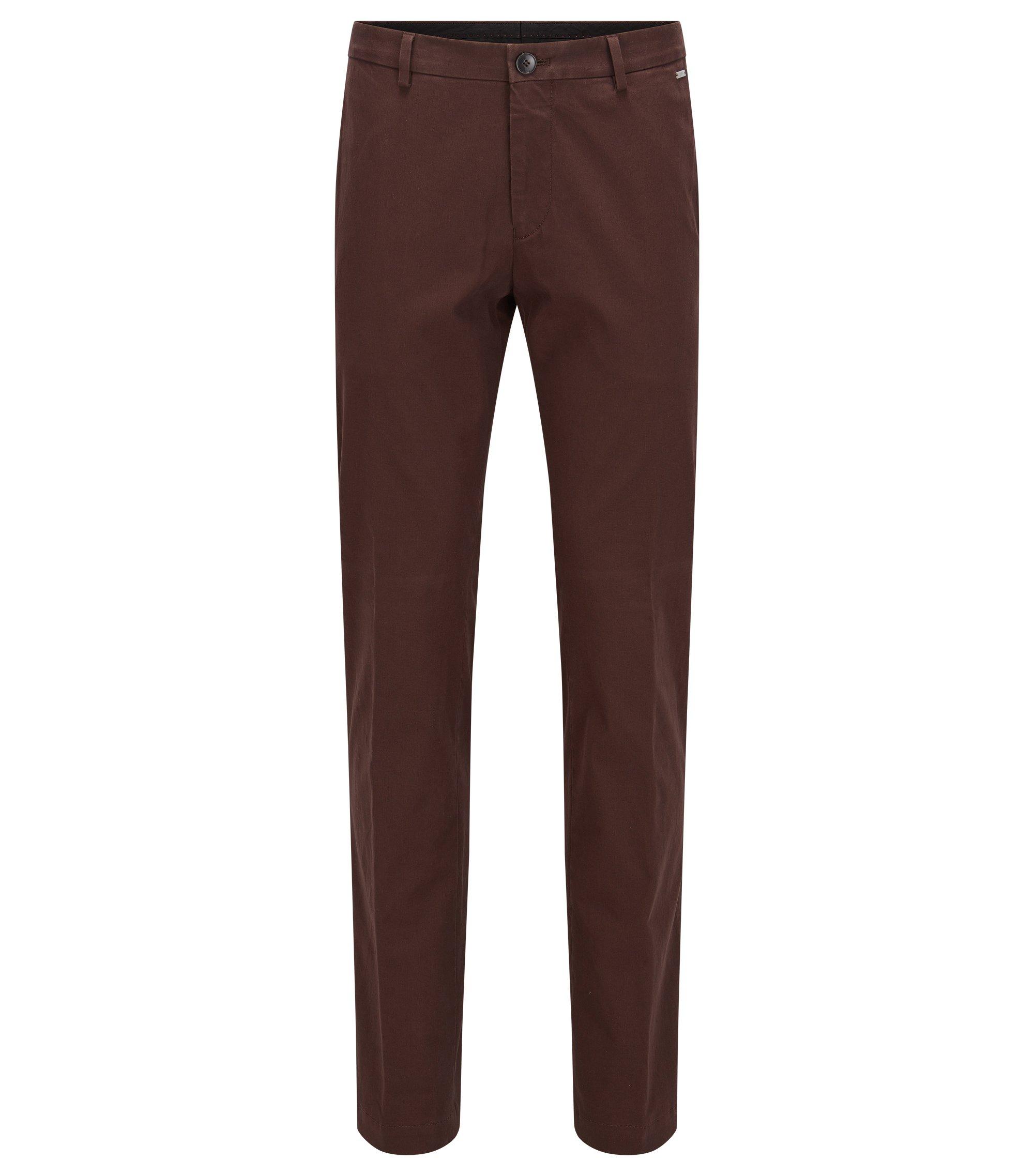 Slim-fit broek van stretchkatoen, Donkerbruin