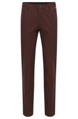 Pantalon Slim Fit en coton stretch, Marron foncé