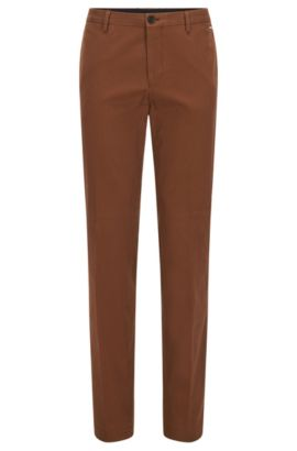 Pantalon Slim Fit en coton stretch, Marron